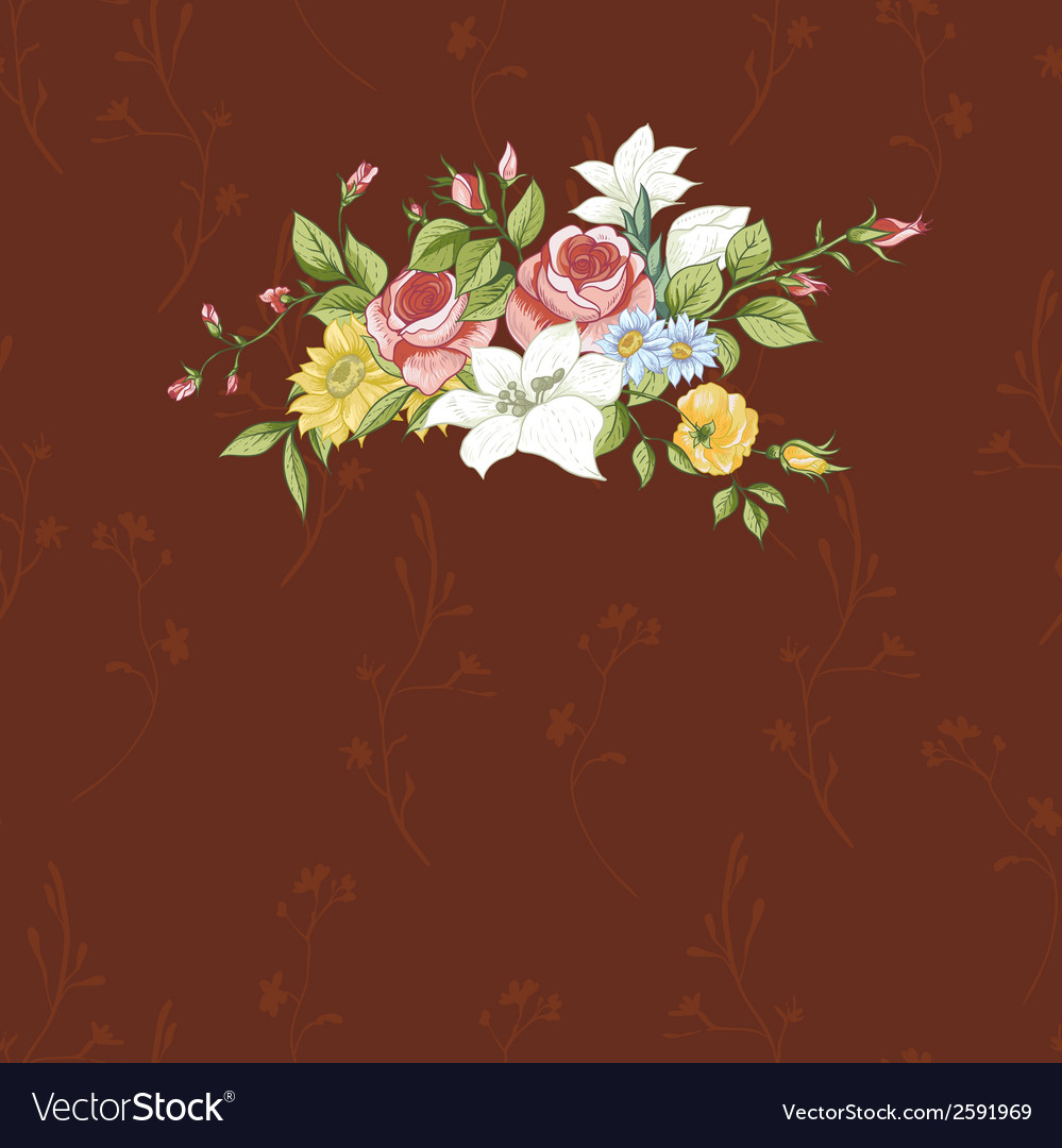 Vintage greeting card with flowers vector | Price: 1 Credit (USD $1)