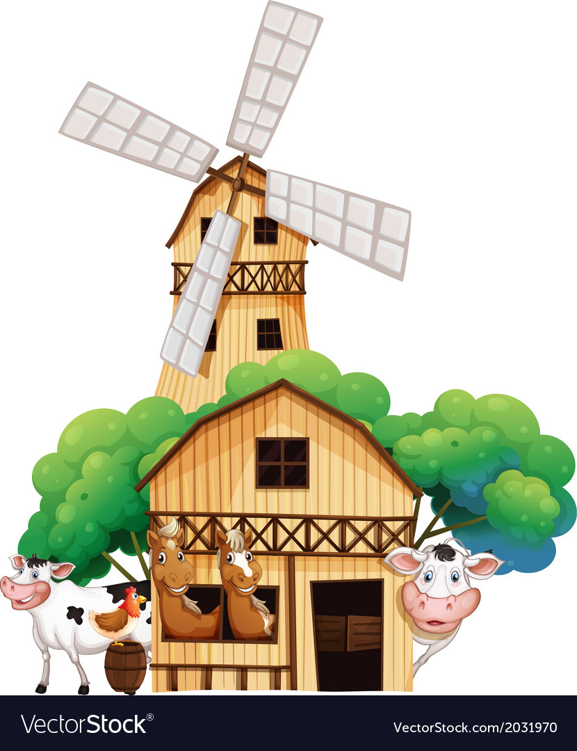 A barn at the farm with animals vector | Price: 3 Credit (USD $3)