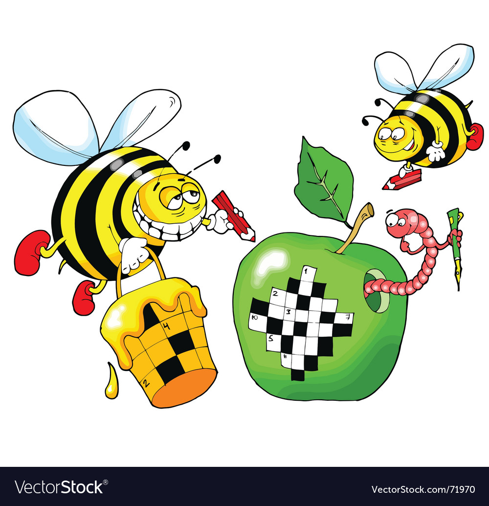Bee and a crossword puzzle vector | Price: 1 Credit (USD $1)