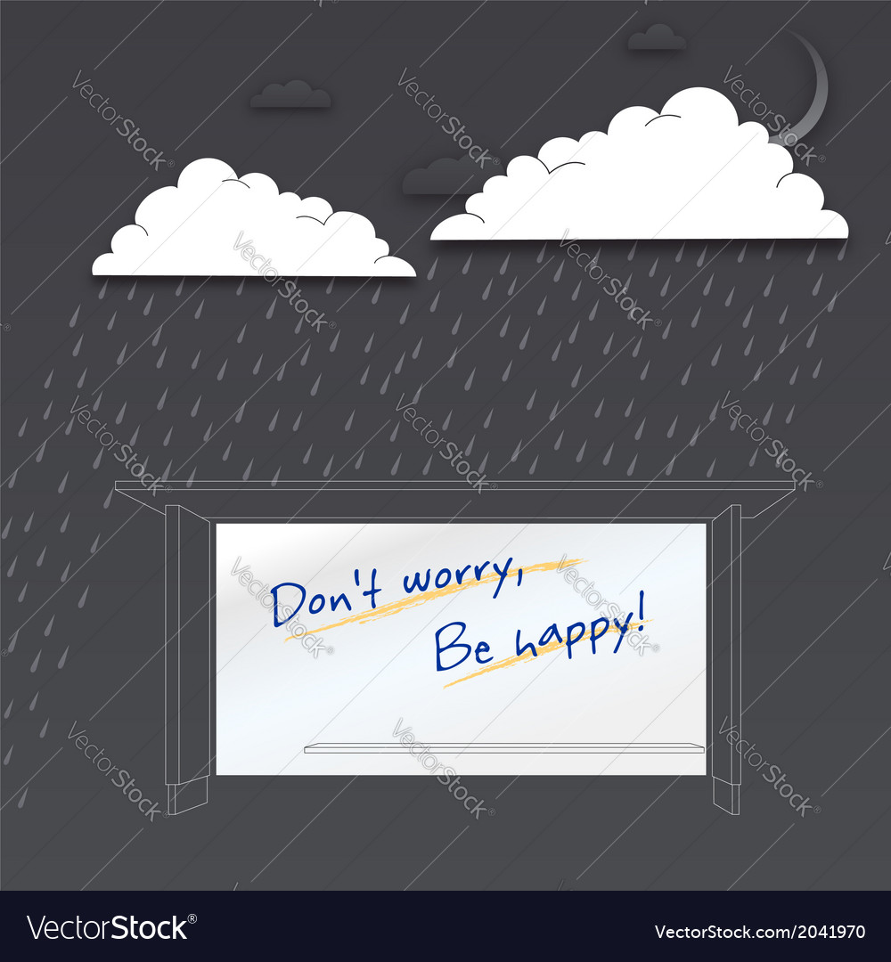Dont worry be happy positive poster vector | Price: 1 Credit (USD $1)