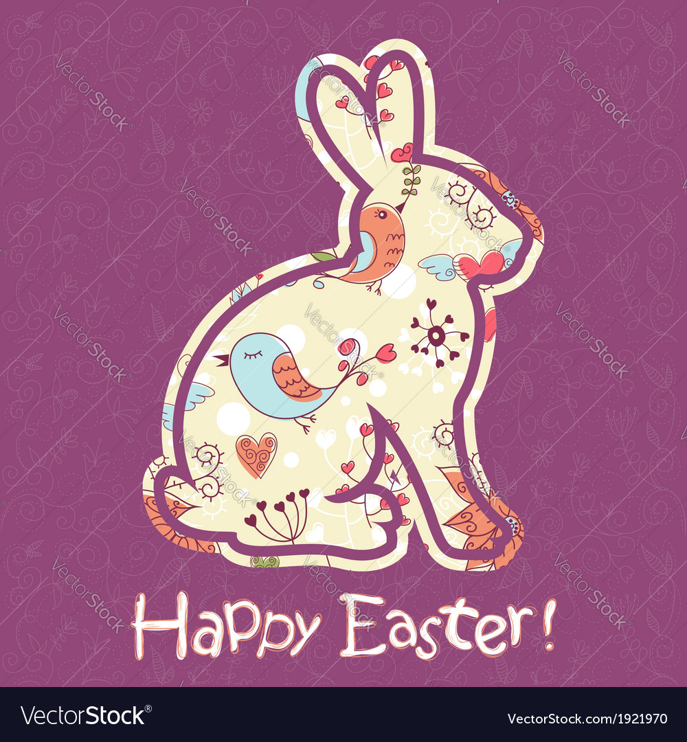 Easter bunny cute floral card vector | Price: 1 Credit (USD $1)