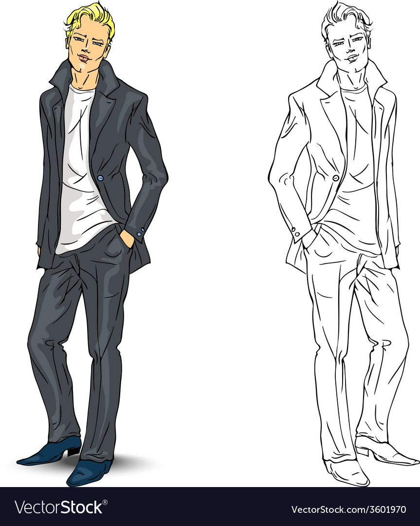 Elegant young man in business suit vector | Price: 1 Credit (USD $1)