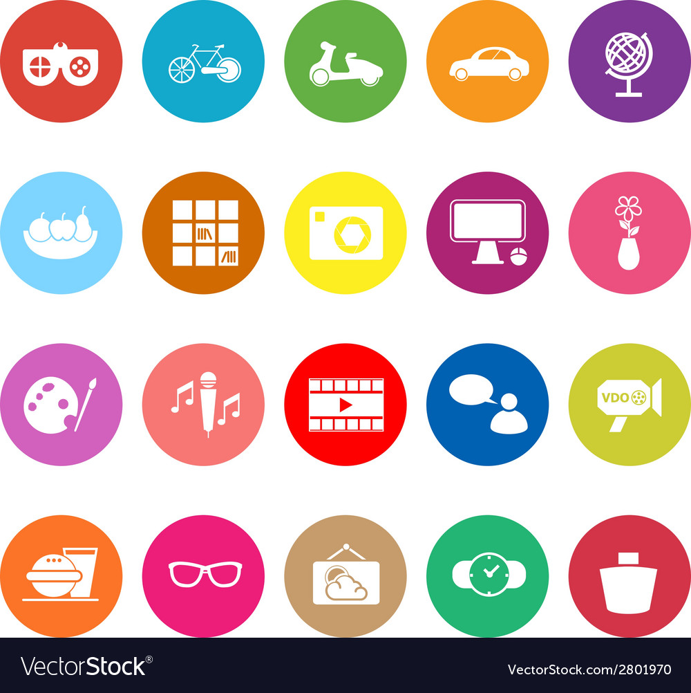 Favorite and like flat icons on white background vector | Price: 1 Credit (USD $1)