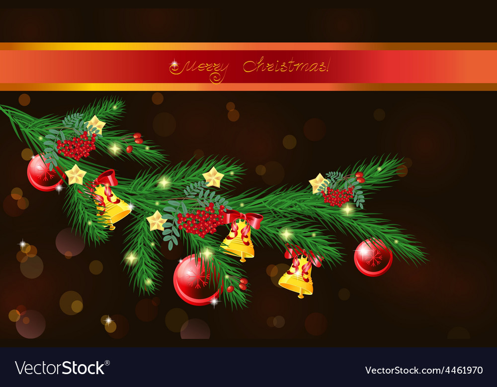 Festive christmas tree branch vector | Price: 3 Credit (USD $3)