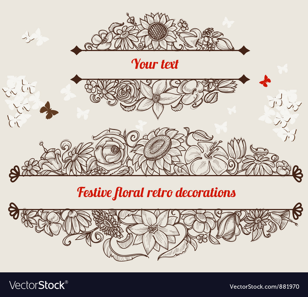 Festive retro floral frames vector | Price: 1 Credit (USD $1)