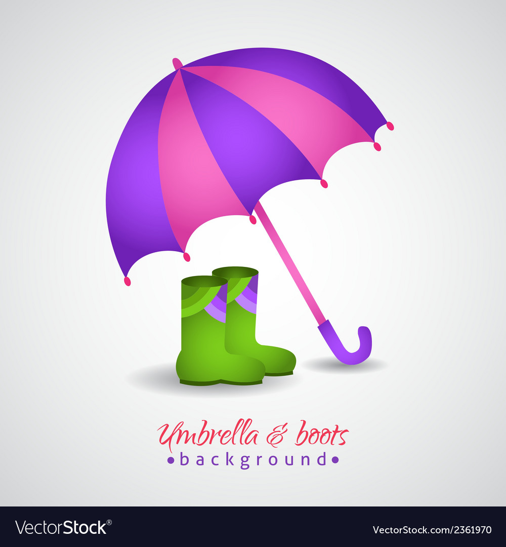 Opened bright umbrella and rain boots vector | Price: 1 Credit (USD $1)