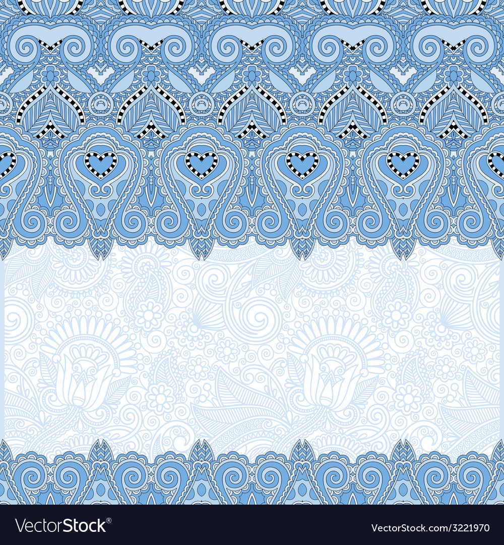 Ornamental floral folkloric blue colour background vector | Price: 1 Credit (USD $1)