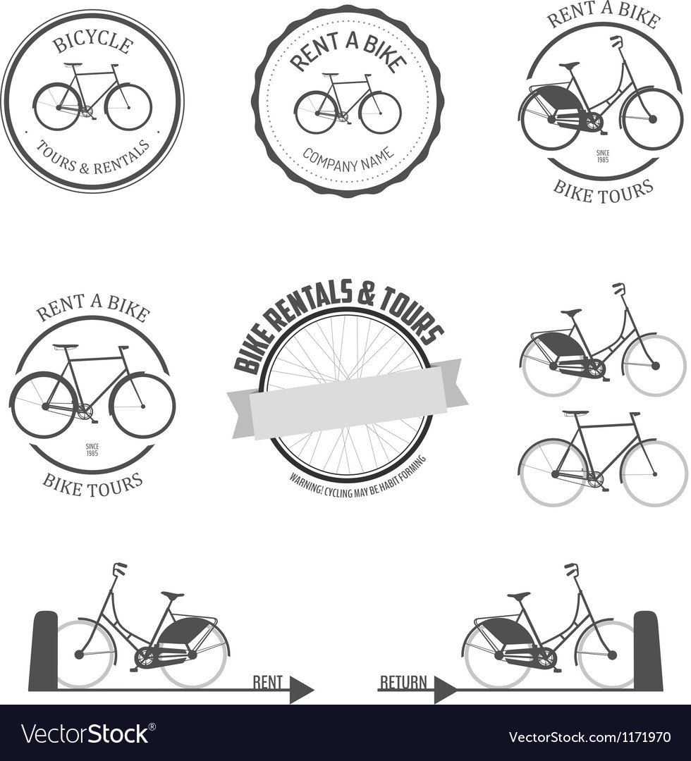 Set of rent a bike design elements vector | Price: 1 Credit (USD $1)