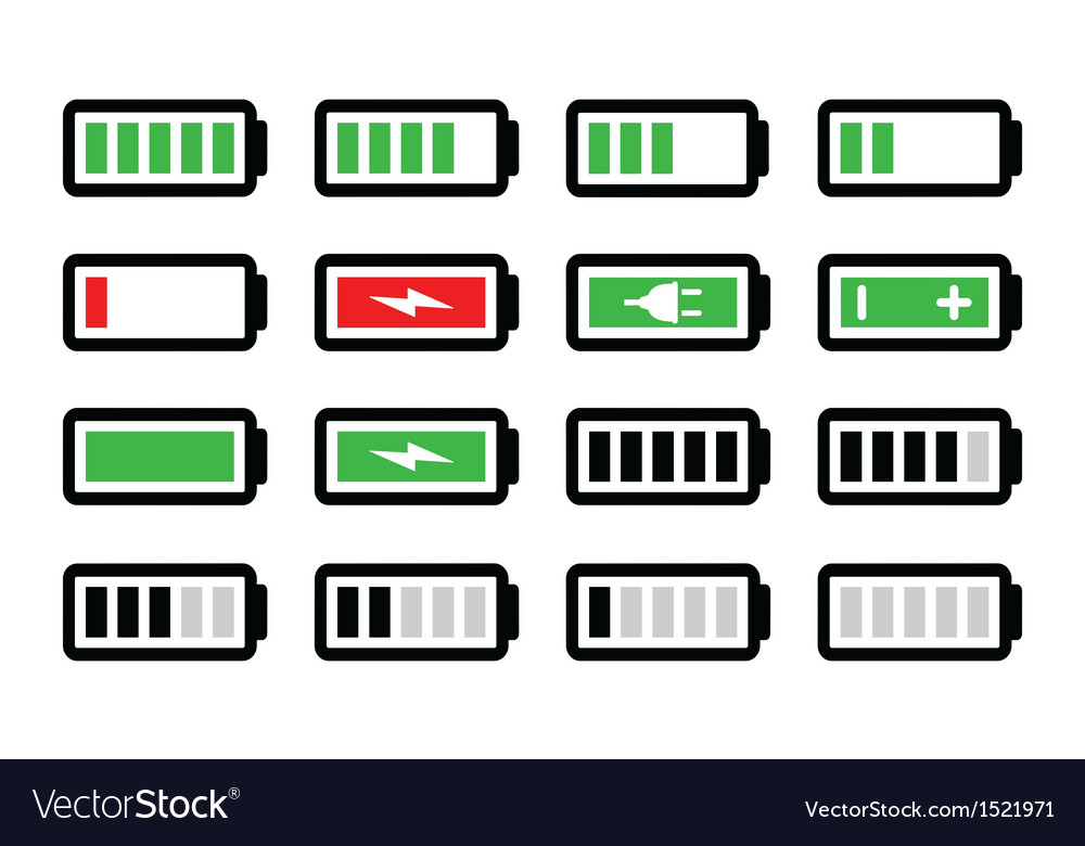 Battery charge icons set vector | Price: 1 Credit (USD $1)
