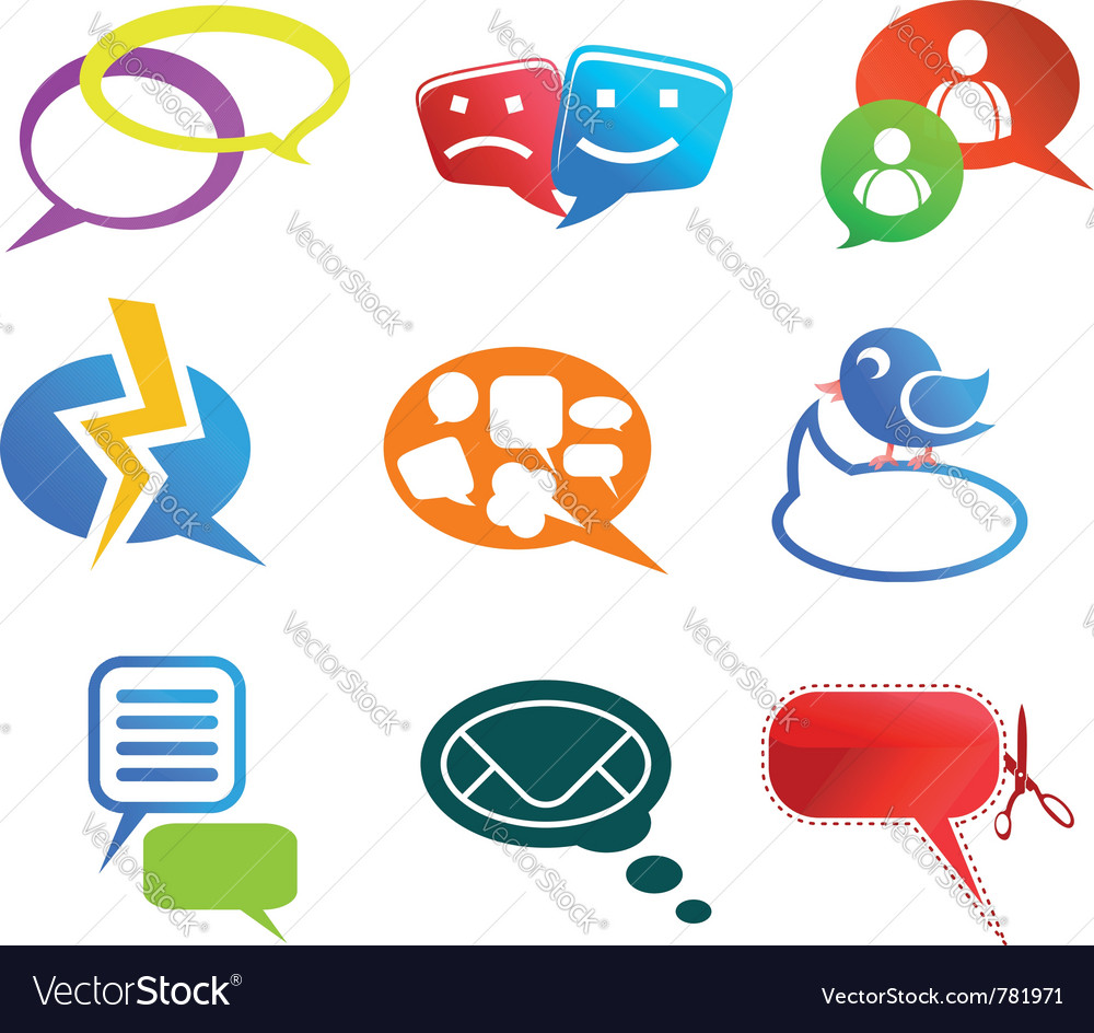 Chat and communication icons vector | Price: 1 Credit (USD $1)