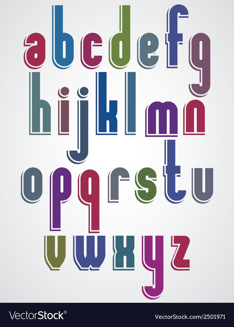 Colorful animated font rounded lowercase letters vector | Price: 1 Credit (USD $1)