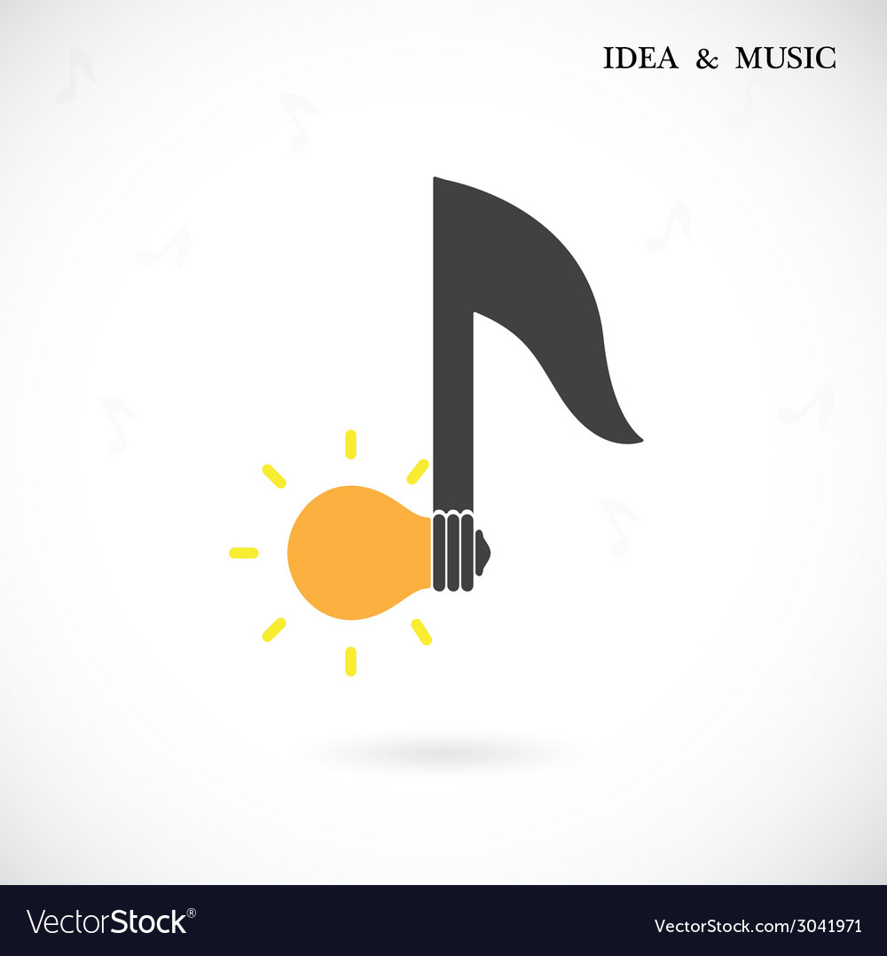 Creative music note sign and light bulb symbol vector | Price: 1 Credit (USD $1)