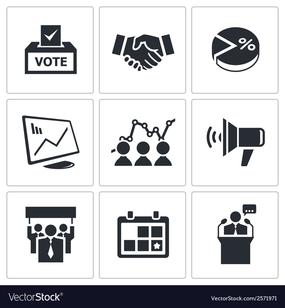 Election icons set vector | Price: 1 Credit (USD $1)