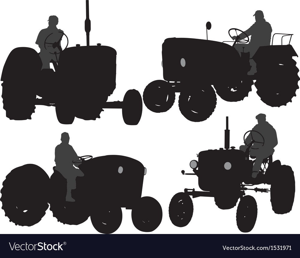 Farmer tractor silhouette vector | Price: 1 Credit (USD $1)