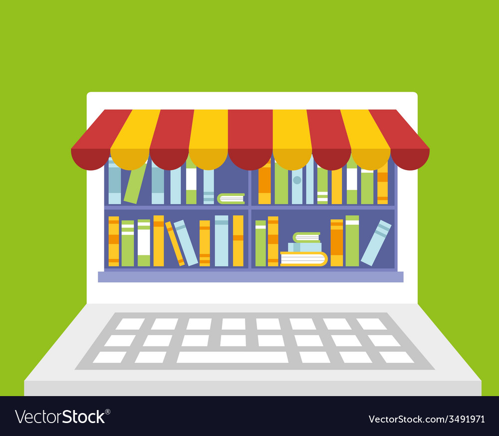 Library of books for read in laptop vector | Price: 1 Credit (USD $1)