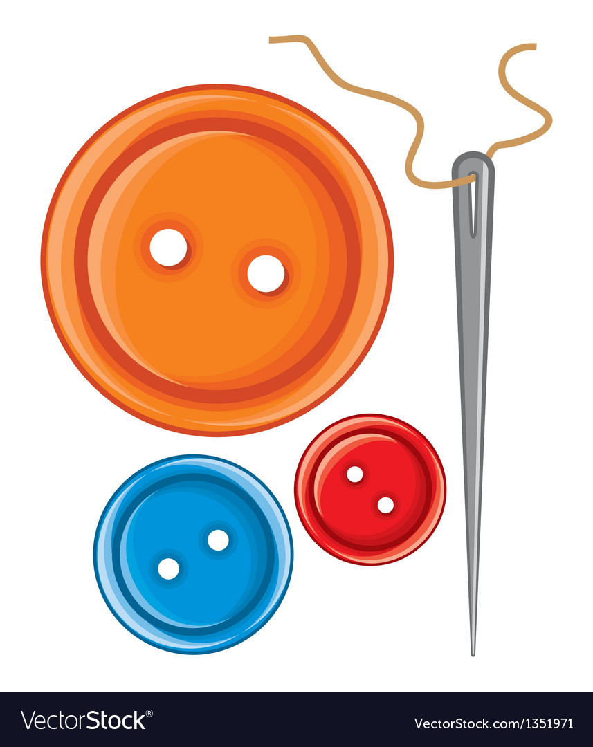 Needle and buttons vector | Price: 1 Credit (USD $1)