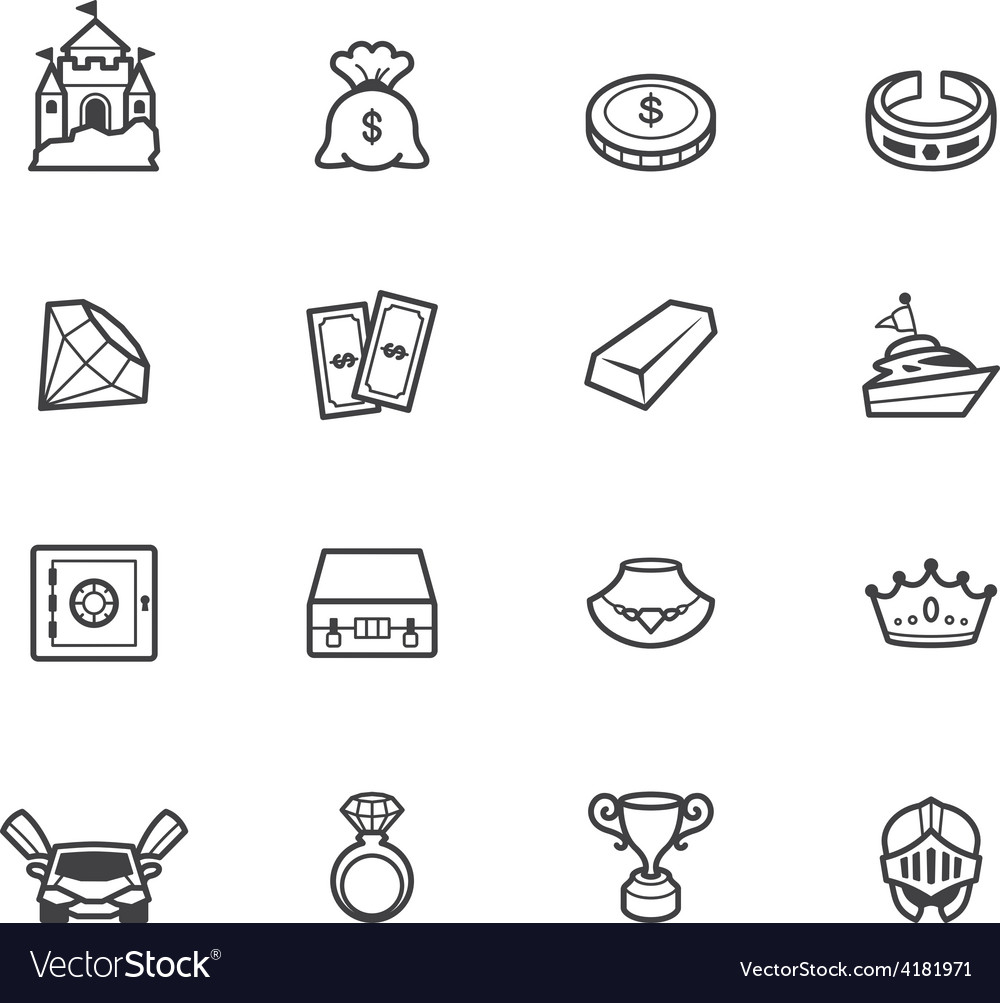 Property element black icon set on white bg vector