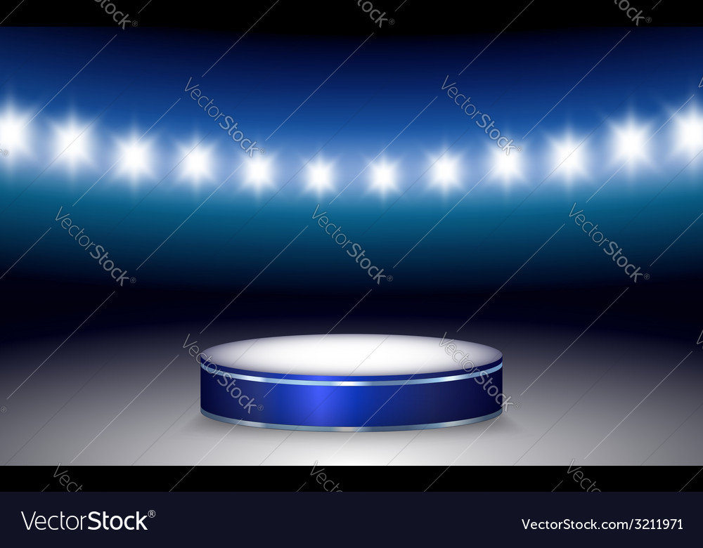 Ramp with illuminated podium and lights vector | Price: 1 Credit (USD $1)