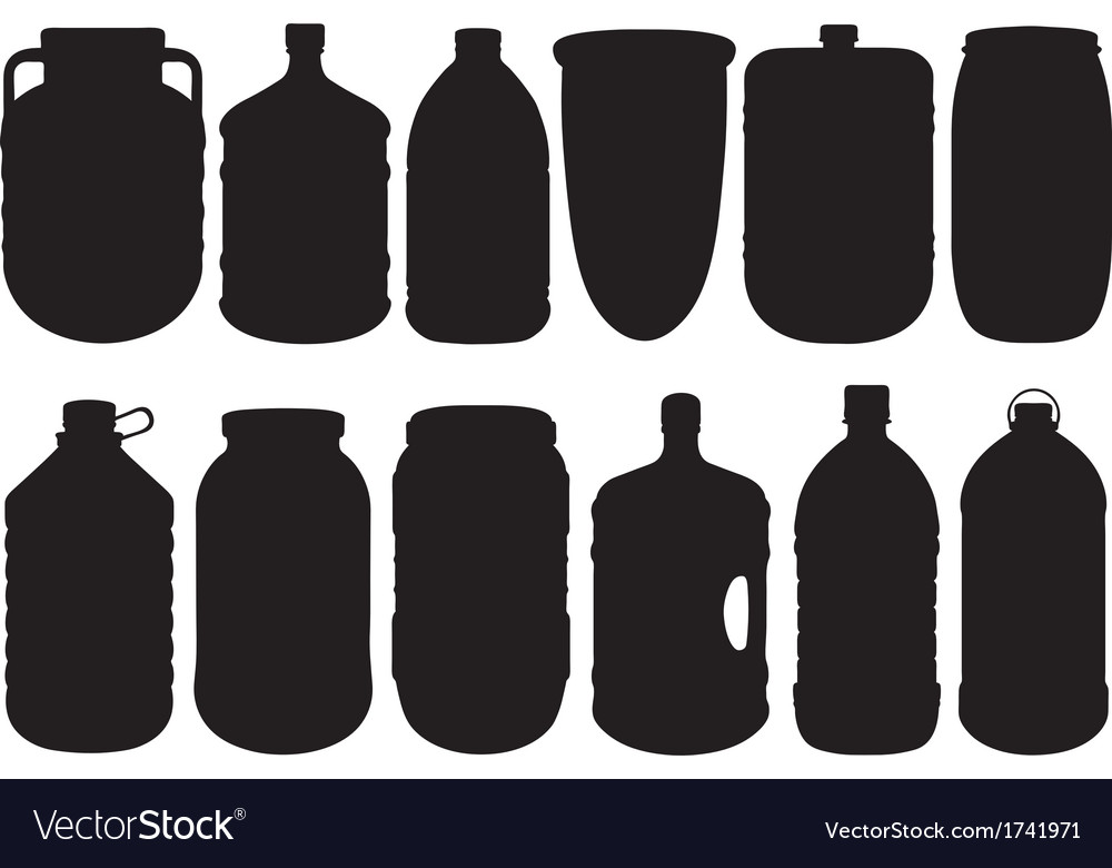 Set of different big bottles vector | Price: 1 Credit (USD $1)