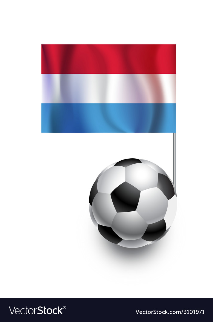 Soccer balls or footballs with flag of luxembourg vector | Price: 1 Credit (USD $1)