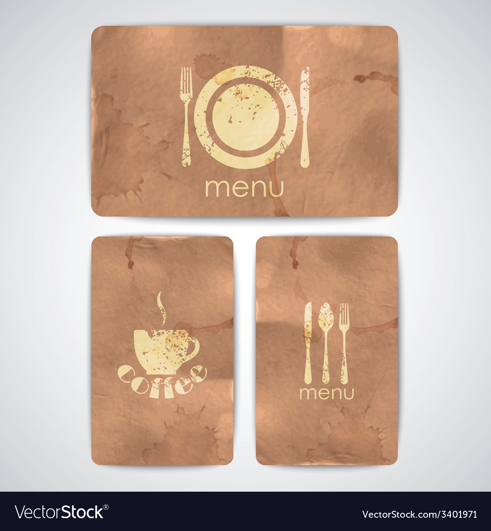 Vintage menu labels with grunge cardboard texture vector | Price: 1 Credit (USD $1)