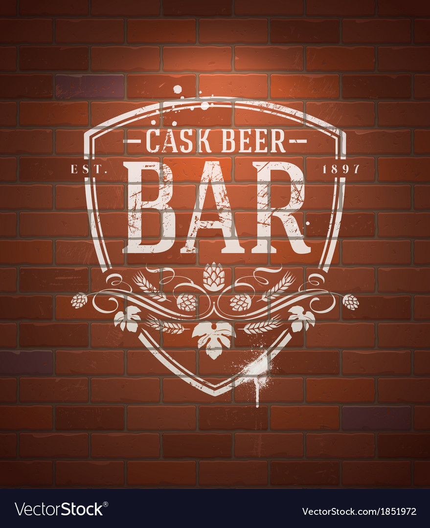 Bar sign painted with white paint on brick wall vector | Price: 1 Credit (USD $1)
