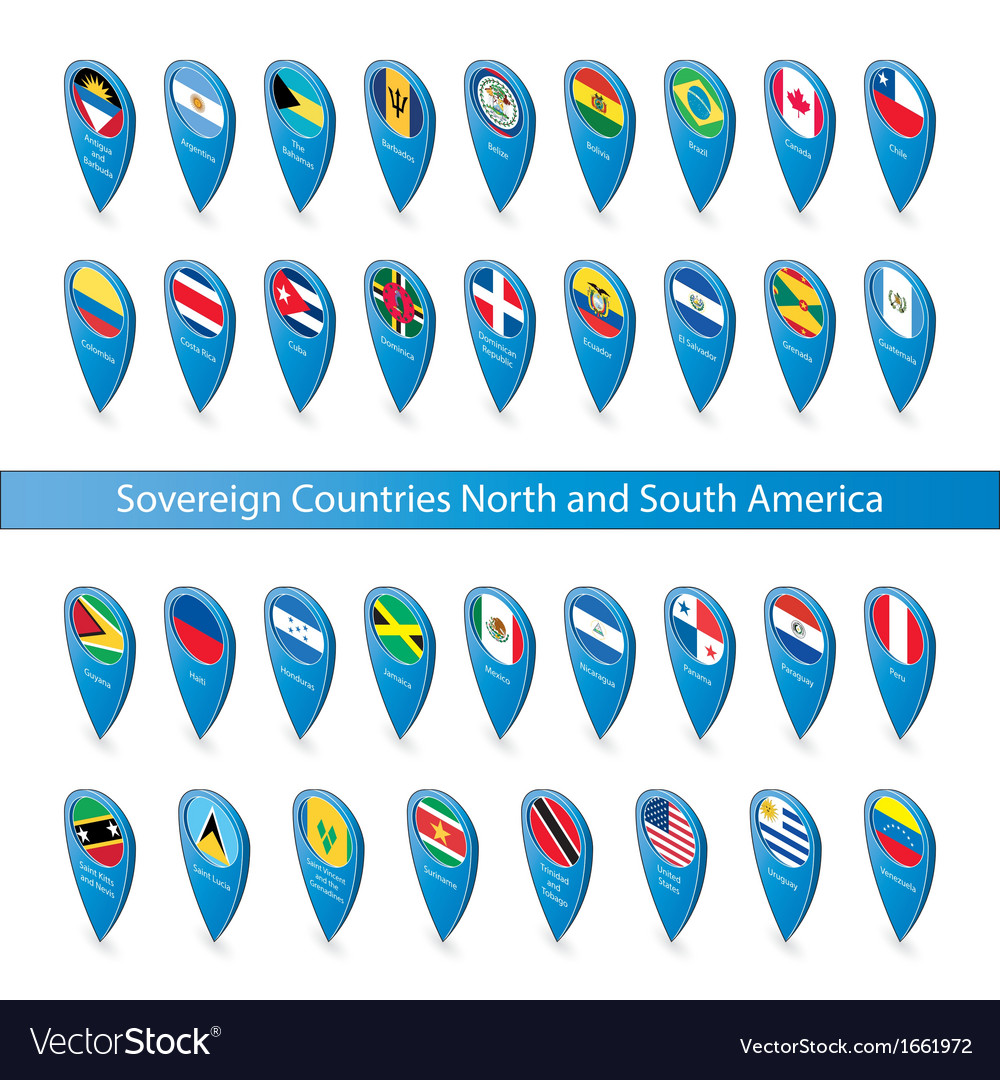 Pin flags of the sovereign countries north and vector | Price: 1 Credit (USD $1)