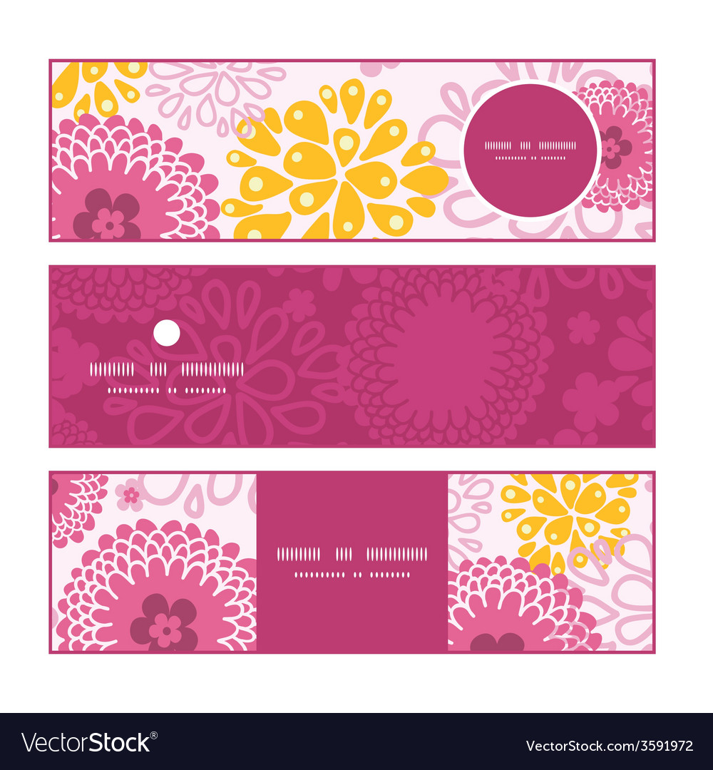 Pink field flowers horizontal banners set pattern vector | Price: 1 Credit (USD $1)