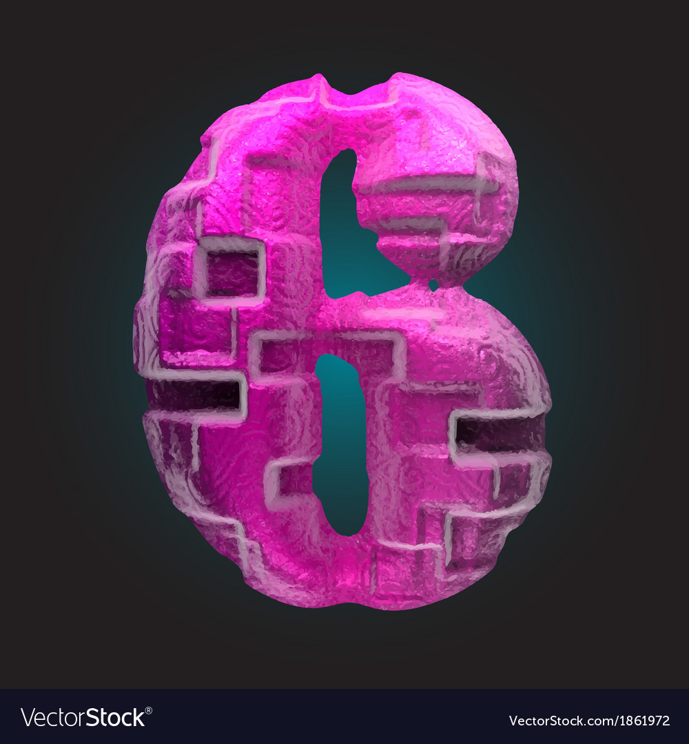 Pink plastic figure 6 vector | Price: 1 Credit (USD $1)