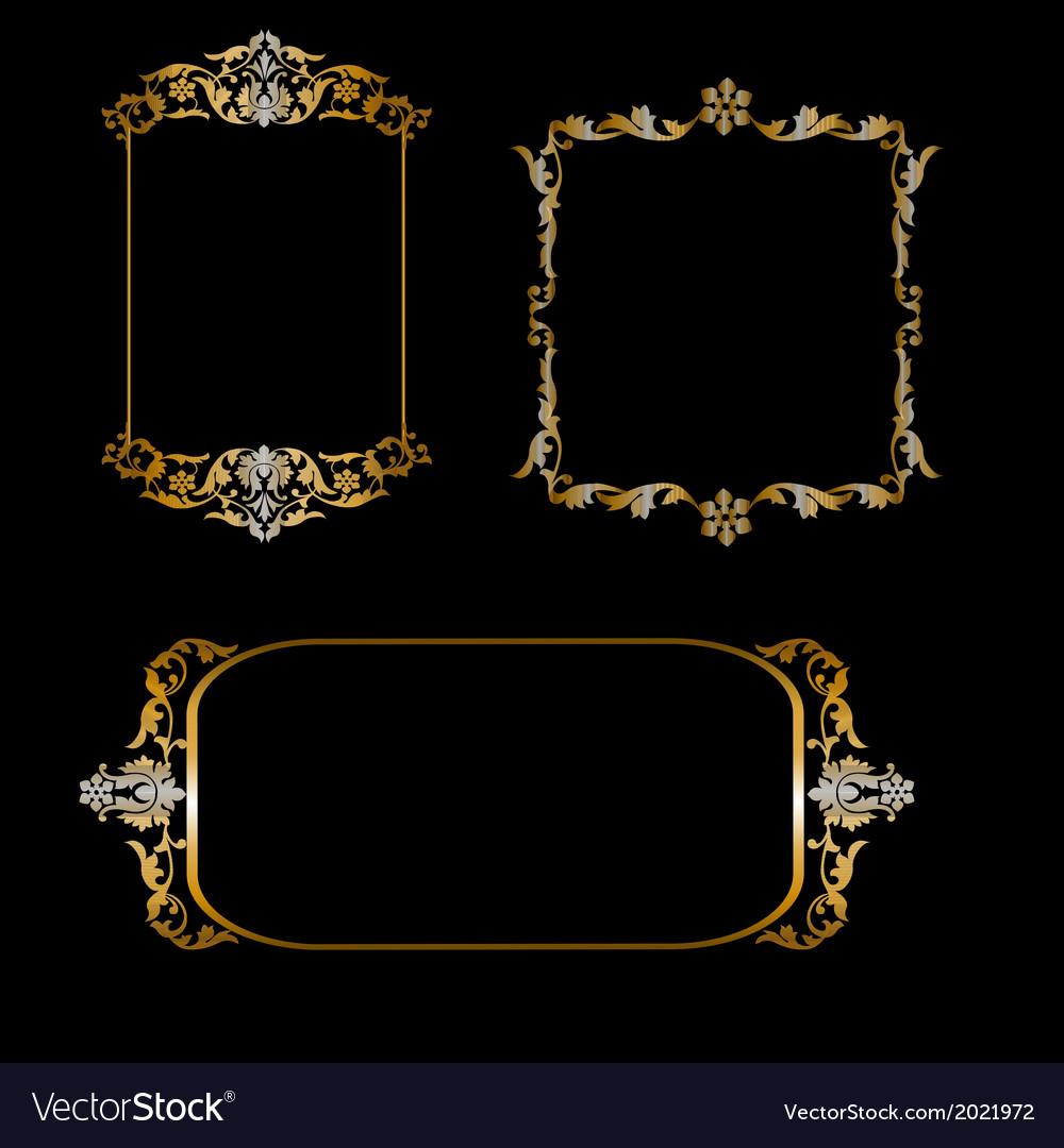 Set of golden frames vector | Price: 1 Credit (USD $1)