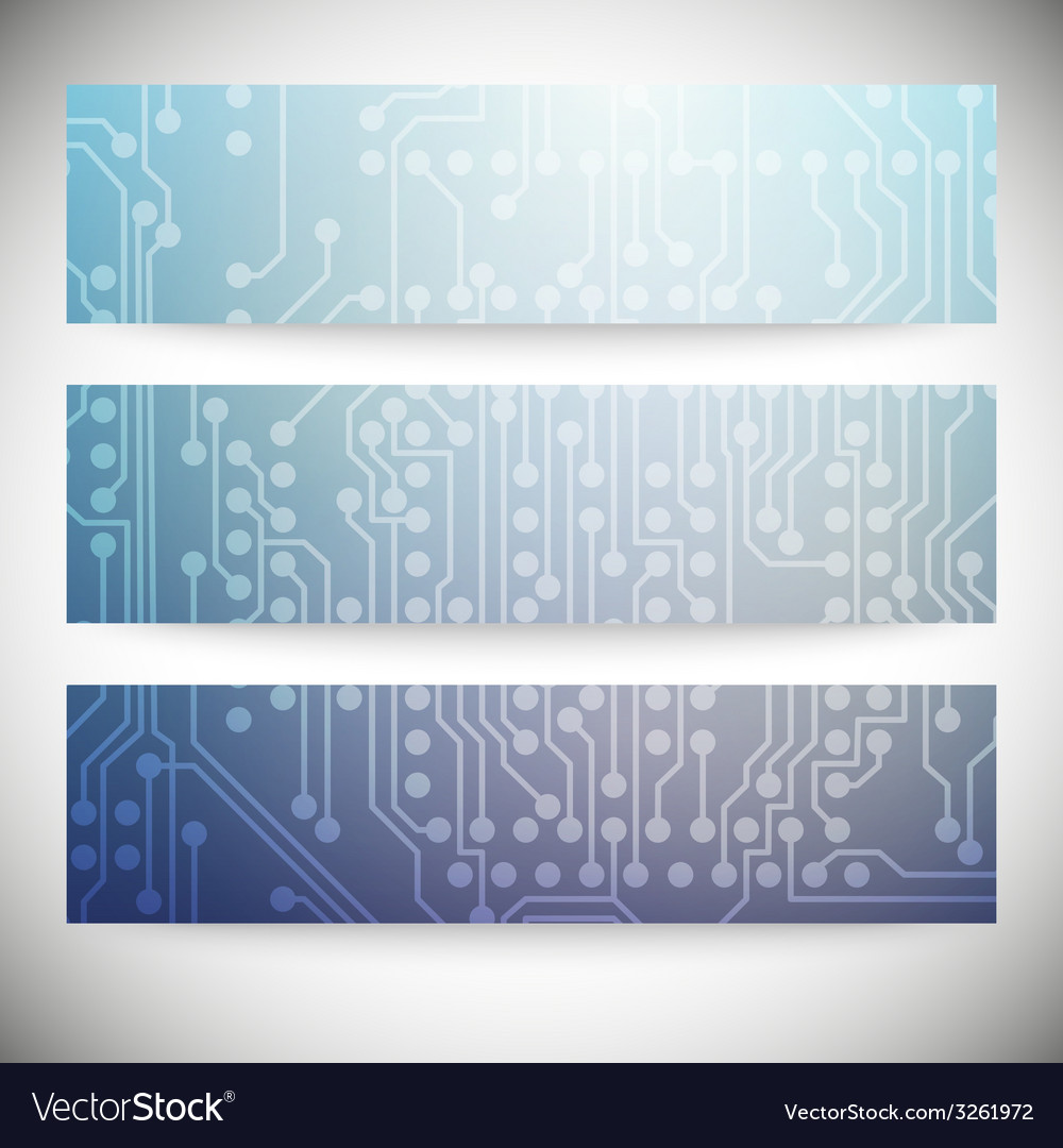 Set of horizontal banners microchip backgrounds vector | Price: 1 Credit (USD $1)
