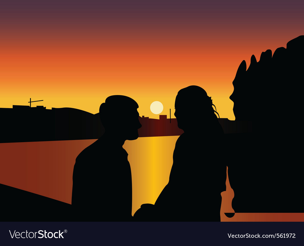Silhouette kisses vector | Price: 1 Credit (USD $1)
