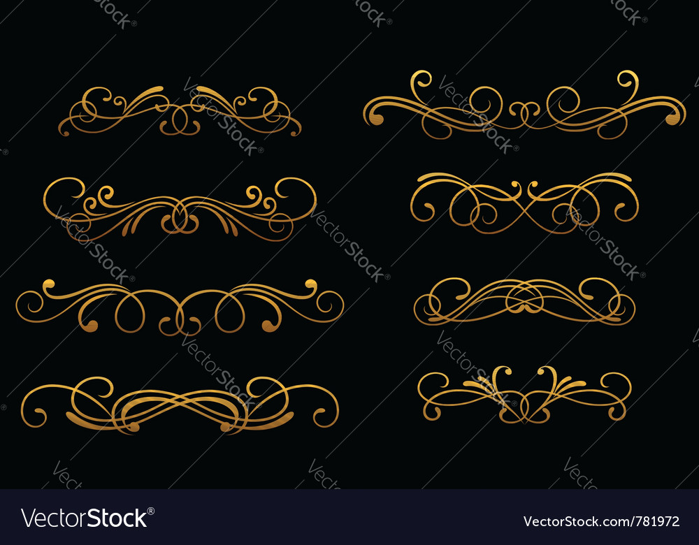 Vintage golden monograms vector | Price: 1 Credit (USD $1)