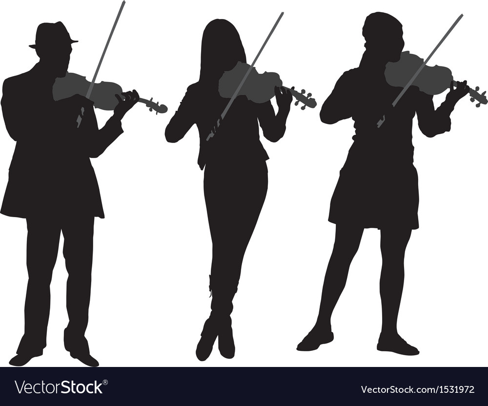 Violinist silhouette vector | Price: 1 Credit (USD $1)
