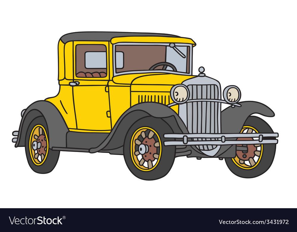 Yellow vintage car vector   Price: 1 Credit (USD $1)