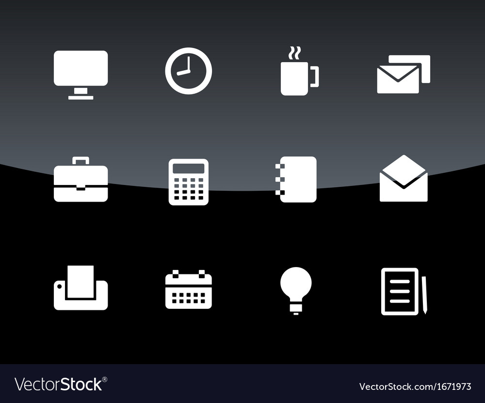 Business icons on black background vector | Price: 1 Credit (USD $1)
