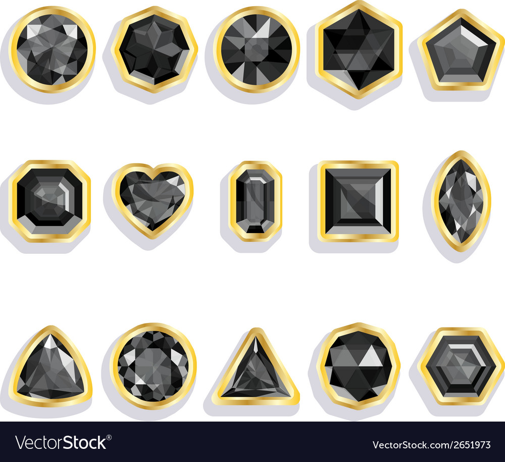 Colorful gems - black set realistic gemstones vector | Price: 1 Credit (USD $1)