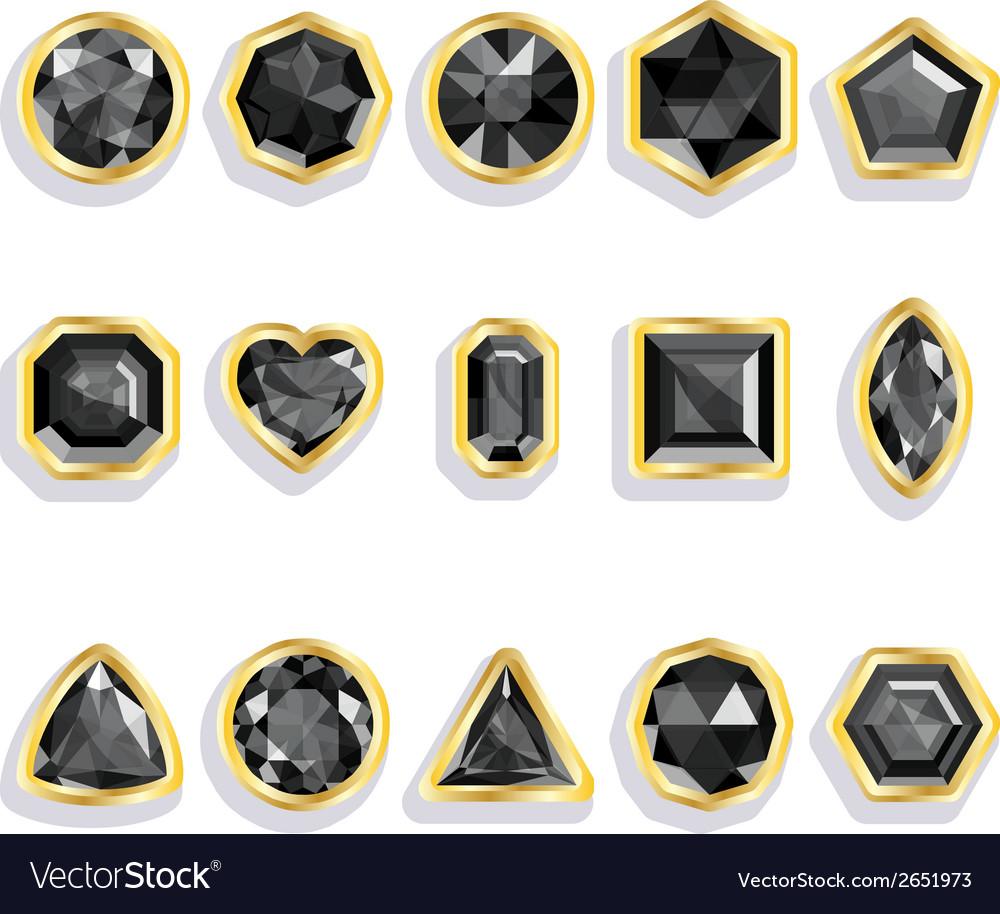 Colorful gems - black set realistic gemstones vector | Price: 1 Credit (USD $1)