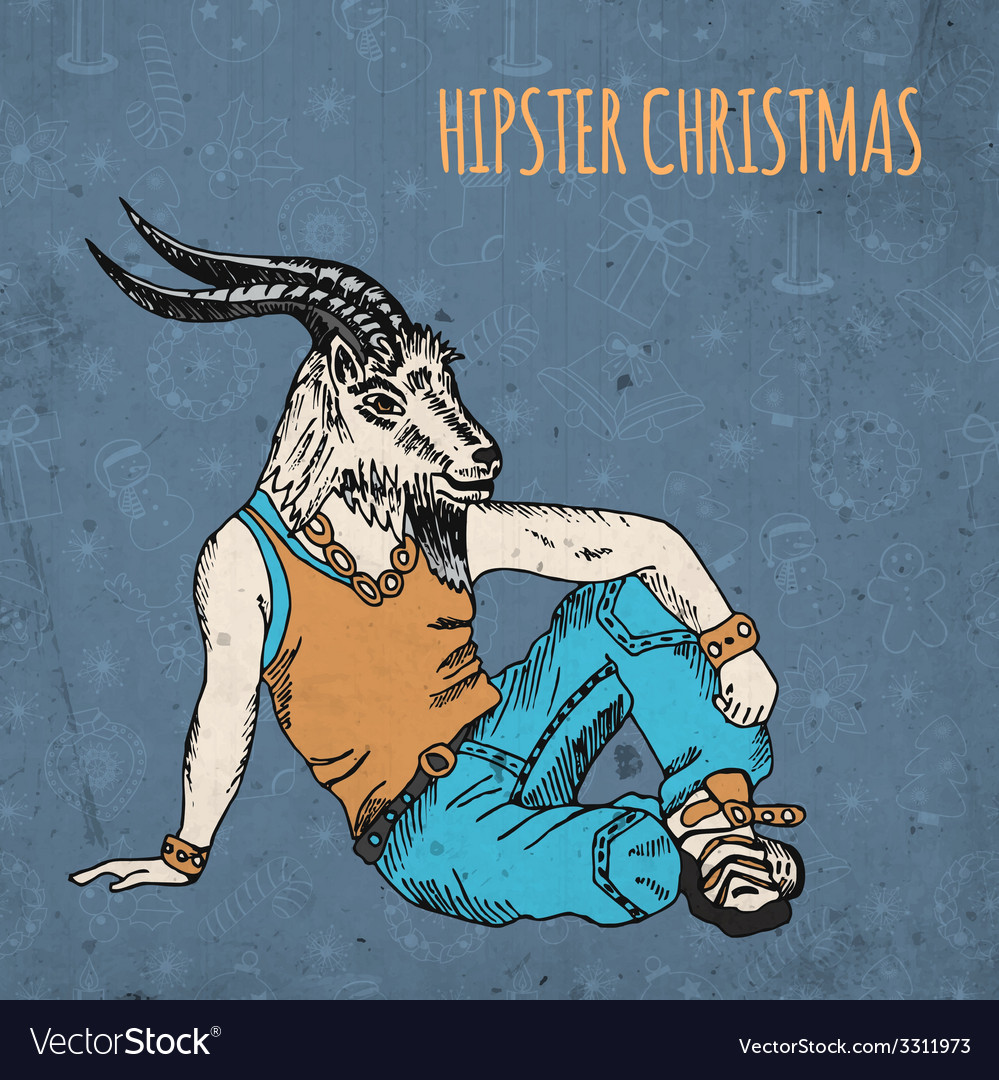 Hand drawn goat man hipster christmas greeting vector | Price: 1 Credit (USD $1)