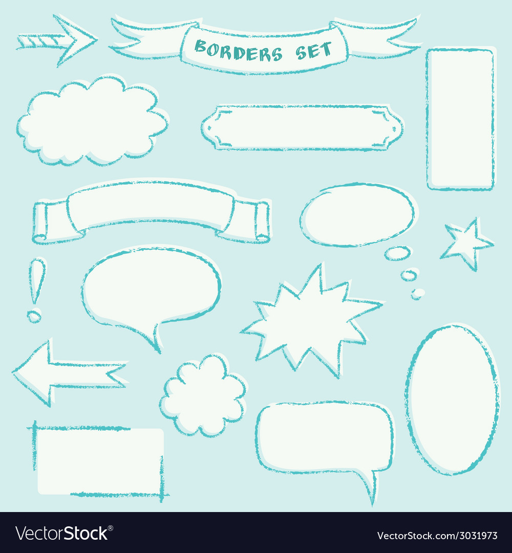 Hand-drawn borders set vector | Price: 1 Credit (USD $1)