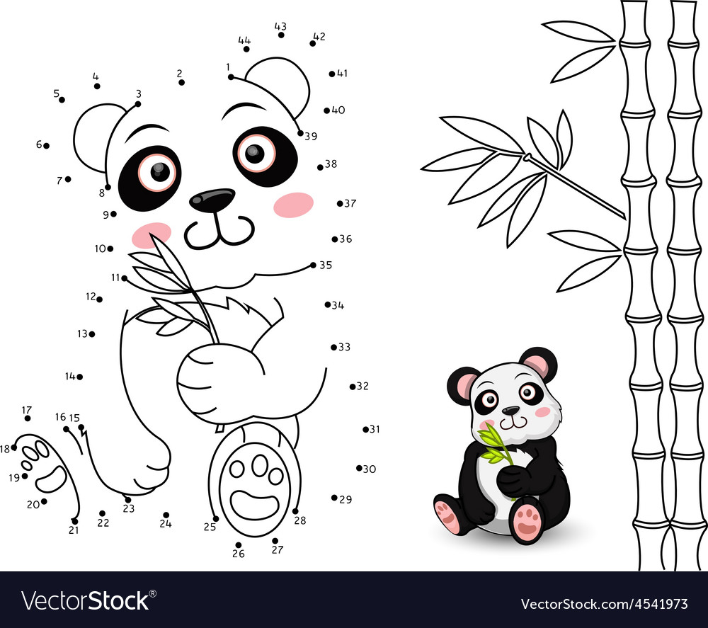 Panda connect the dots and color vector | Price: 1 Credit (USD $1)