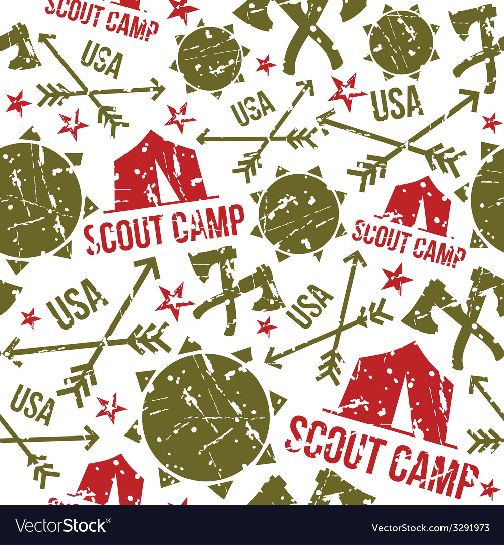 Scout camp seamless patterns vector | Price: 1 Credit (USD $1)