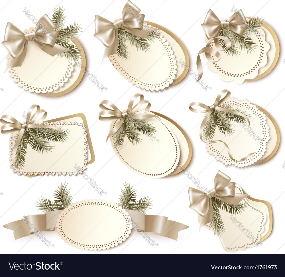 Set of beautiful golden christmas gift cards with vector | Price: 1 Credit (USD $1)