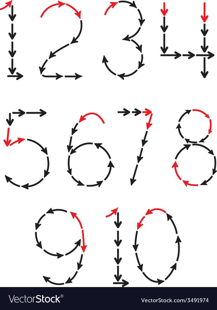 Arrows numbers vector | Price: 1 Credit (USD $1)