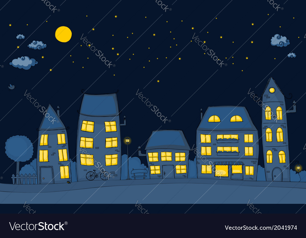 Cute street night vector | Price: 1 Credit (USD $1)