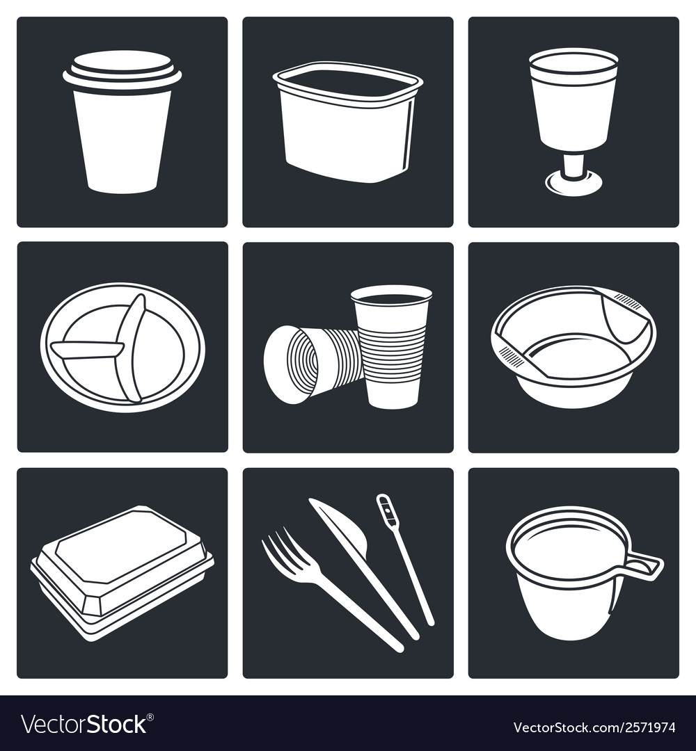Disposable tableware icons vector | Price: 1 Credit (USD $1)