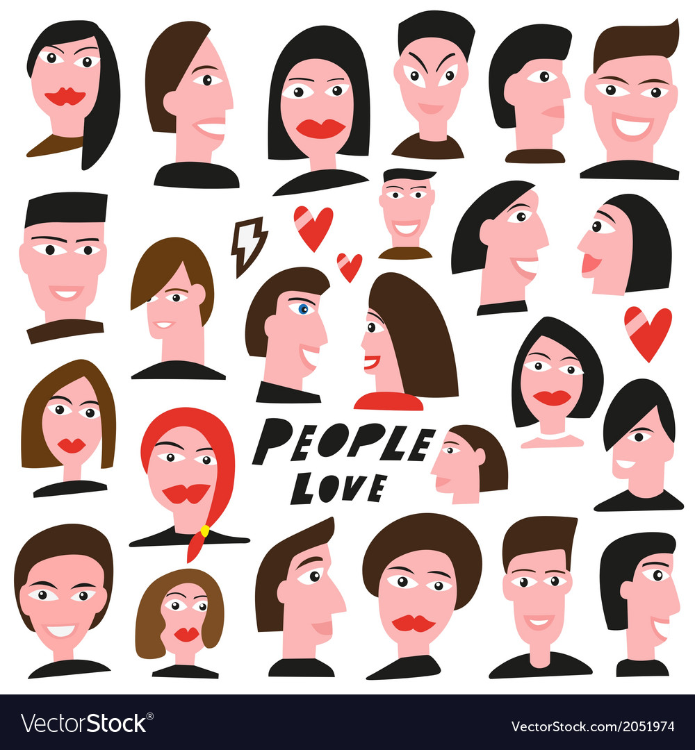 Faces of people vector | Price: 1 Credit (USD $1)