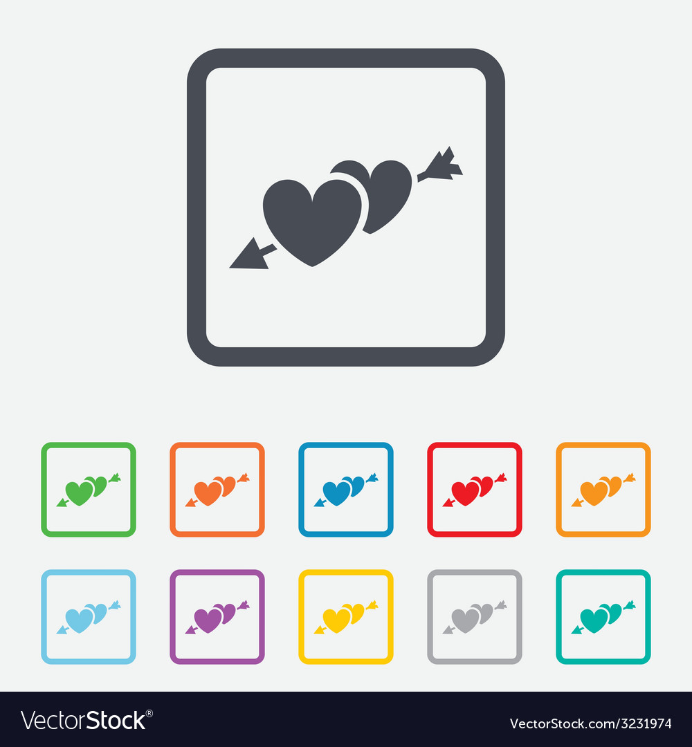 Hearts with arrow sign icon love symbol vector | Price: 1 Credit (USD $1)
