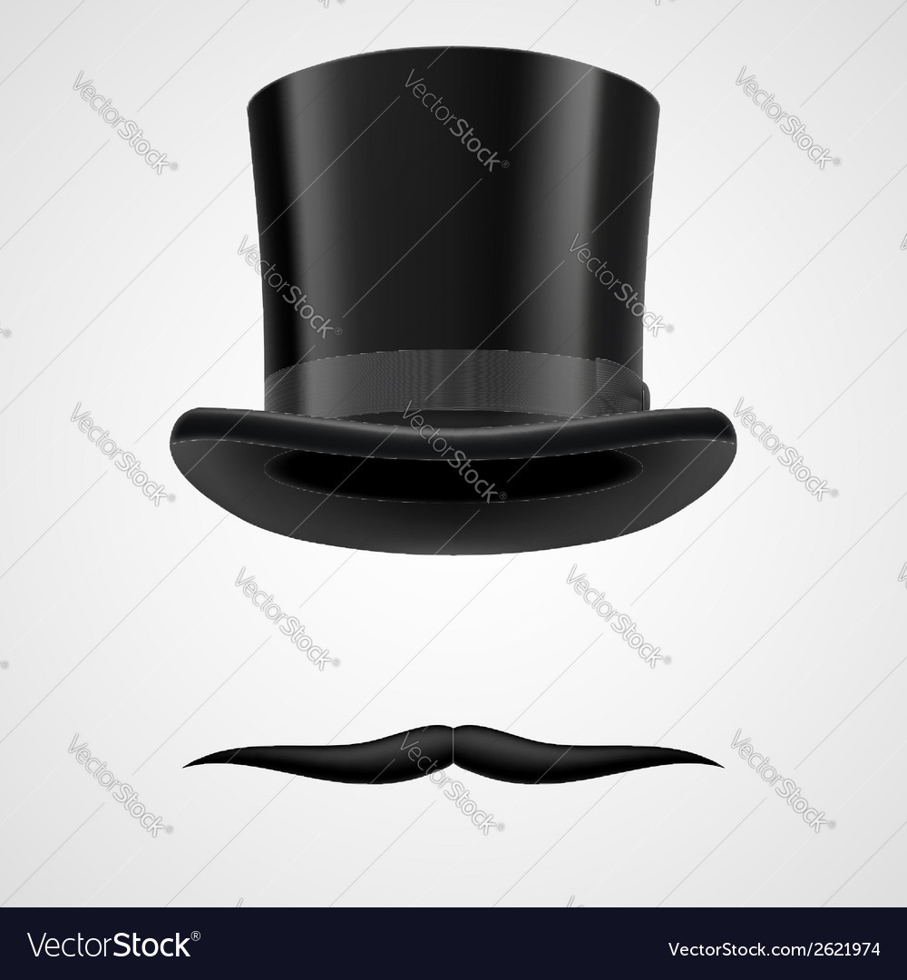 Moustaches and stovepipe hat victorian gentleman vector | Price: 1 Credit (USD $1)