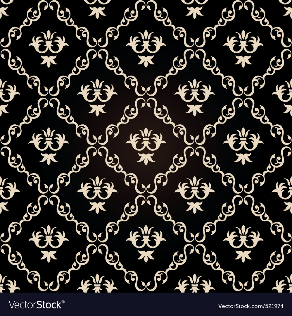 Seamless vintage wallpaper background floral black vector | Price: 1 Credit (USD $1)